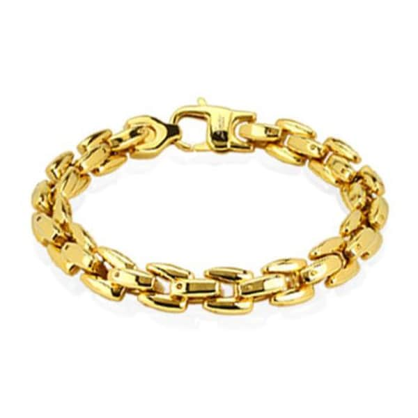 Stainless Steel Gold Plated Scale Link Bracelet - 8.75 Inches (9 mm) - 9 in