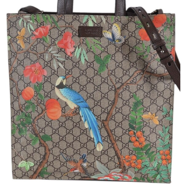 1a4c973a21f Gucci Women  x27 s 450950 GG Supreme Blooms Birds Floral Crossbody Purse  Tote -