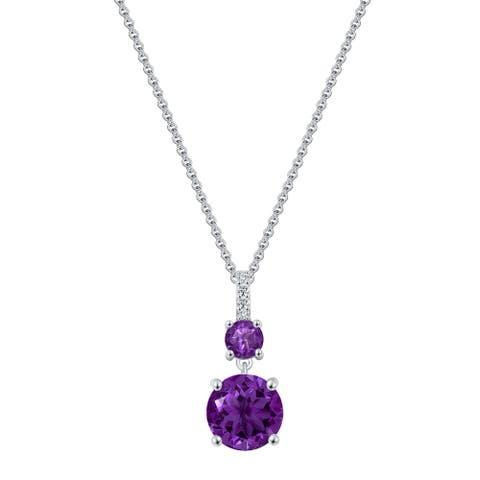2-Stone Round Cut Gemstone Drop Pendant Necklace, Sterling Silver