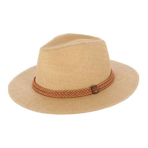 Epoch Hats Company Women's Panama Straw Fedora Hat with Faux Leather Band