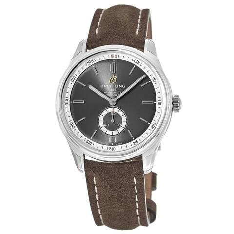 Breitling Men's A3734035-BG98-505X 'Premier' Brown Leather Watch - Grey
