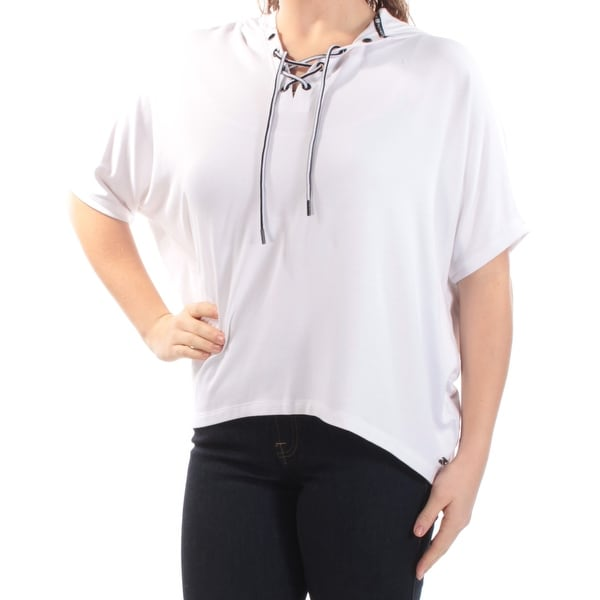 3cb9984980 Shop TOMMY HILFIGER Womens White Lace Up Short Sleeve V Neck Active Wear  Top Size  M - On Sale - Free Shipping On Orders Over  45 - Overstock -  21239973