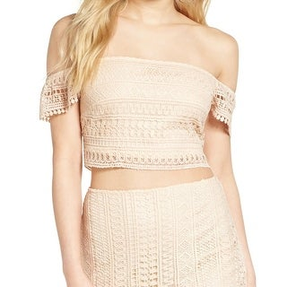 Leith Light Pink Womens Size Large L Off-Shoulder Lace Crop Top