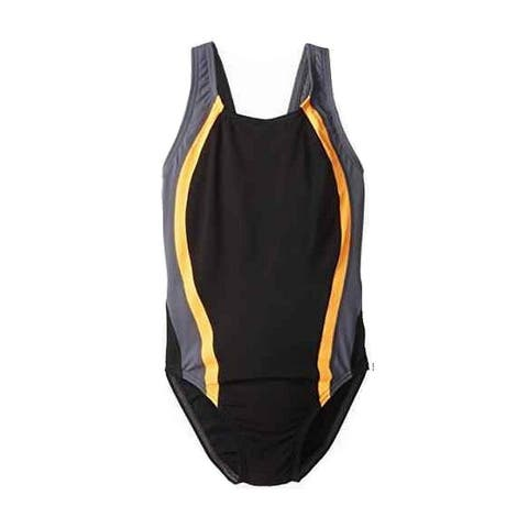 Speedo Black Gray Orange Girl's Size 8 Swimsuit Back-Cutout Swimwear