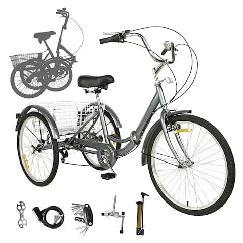 Assembleasily Adult Folding Tricycles, 7 Speed 20/24/26 inch Three Wheel Bike Foldable Adult Cruiser Trikes