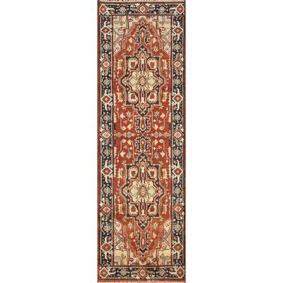 "Oriental Geometric Indo Heriz Serapi Runner Rug Wool Hand-knotted - 2'7"" x 8'0"""
