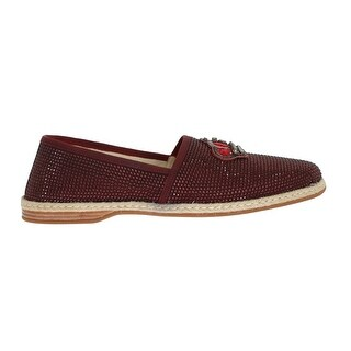 Dolce & Gabbana Dolce & Gabbana Red Canvas Swarovski Strass Loafers - eu44-us11