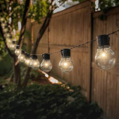 SOCIALITE Solar Powered LED Patio Bulb String Lights - 2 Pack - 20 feet