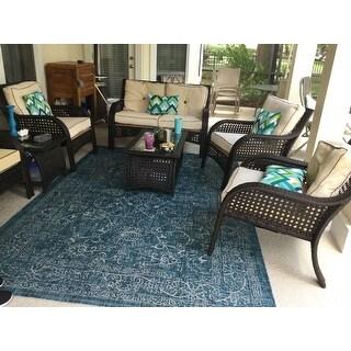 SAFAVIEH Courtyard Aquata Indoor/ Outdoor Patio Backyard Rug