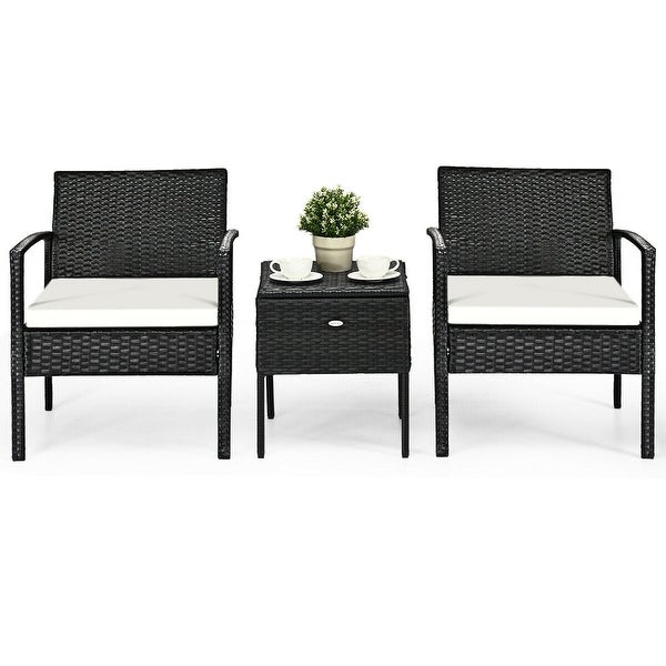 3 pcs Outdoor Patio Rattan Furniture Set with Cushion