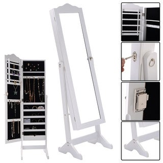 Costway Lockable Mirrored Jewelry Cabinet Armoire Mirror Organizer Storage Box w/ Stand