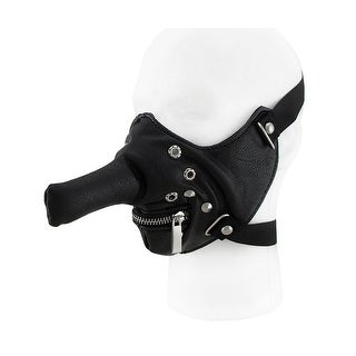 Black Long Nose Zip Mouth Half Face Riding Mask