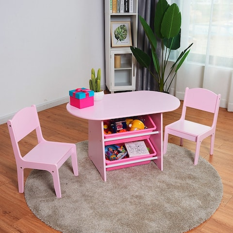 Costway Kids Table and 2 Chairs Set with Storage Boxes For Toddler