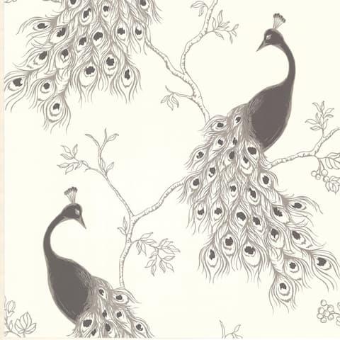 Peacock Silver Ashwile Wallpaper - 20.5in x 396in x 0.025in