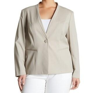 Lafayette 148 New York NEW Beige Womens Size 20W Plus One-Button Jacket