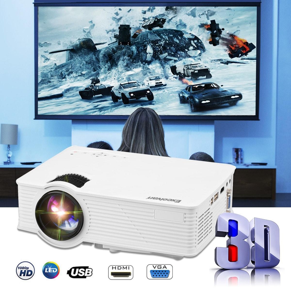 Mini LED Projector 1080P 2000 Lumens Home Cinema Theater HDMI//USB//USB//SD//AV//VGA