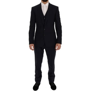 Dolce & Gabbana Blue Wool Stretch MARTINI 3 Piece Suit - it46-s