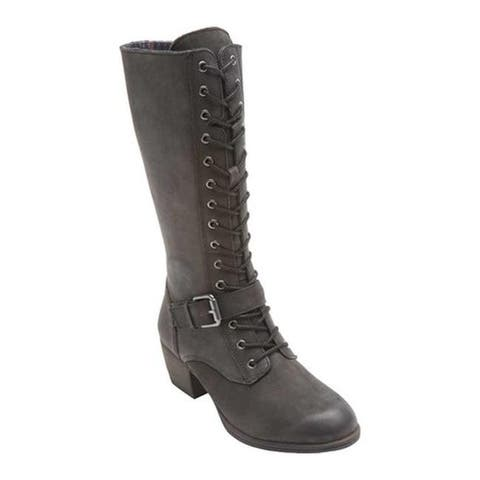 Rockport Women's Cobb Hill Anisa Tall Lace Up Boot Black Leather