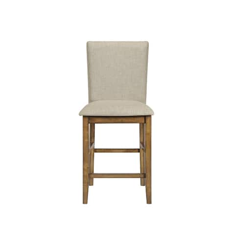 ACME Shirina Counter Height Chair (Set-2) in Beige Fabric and Oak