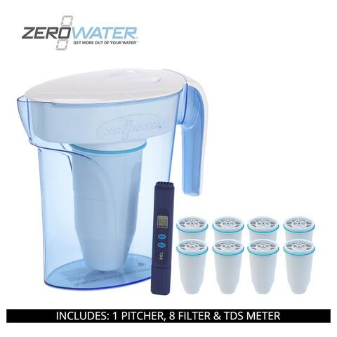 ZeroWater 7 Cup Ready-Pour Pitcher, 9 Filter & TDS Meter, ZP-007RP