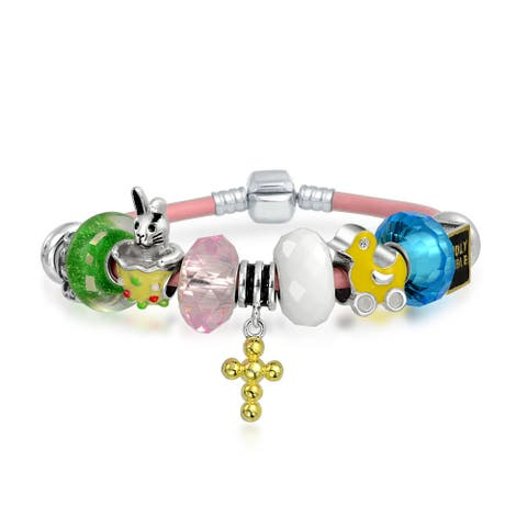 Spring Easter Bunny Family Cross Religious Multi Bead Charm Bracelet Genuine Leather 925 Sterling Silver For Small Wrist