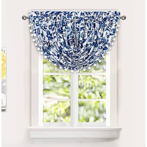 Porch & Den Ouzel Floral Watercolor Pattern Lined Window Valance