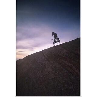 """Mountain biking silhouette"" Poster Print"