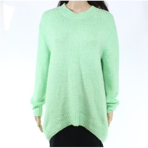 Leith Womens Seaweed Green Size XS Crewneck Pullover Hi-Low Sweater
