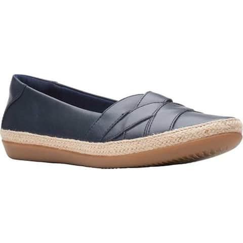 Clarks Women's Danelly Shine Espadrille Flat Navy Leather