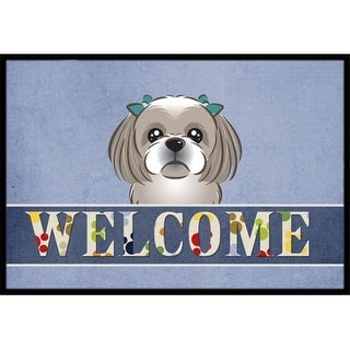 Carolines Treasures BB1436JMAT Gray Silver Shih Tzu Welcome Indoor & Outdoor Mat 24 x 36 in.