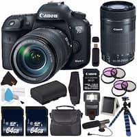 Canon EOS 7D Mark II DSLR (Intl Model) 18-135mm f/3.5-5.6 IS USM Lens & Adapter + Canon EF-S 55-250mm Lens + 64GB Card Bundle