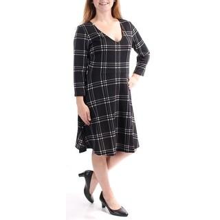 Womens Black Striped Long Sleeve Knee Length Wear To Work Dress Size: M