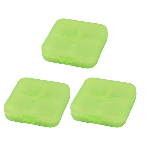 Hiking Plastic 4 Compartments Medicine Pill Holder Storage Box Case Green 3pcs
