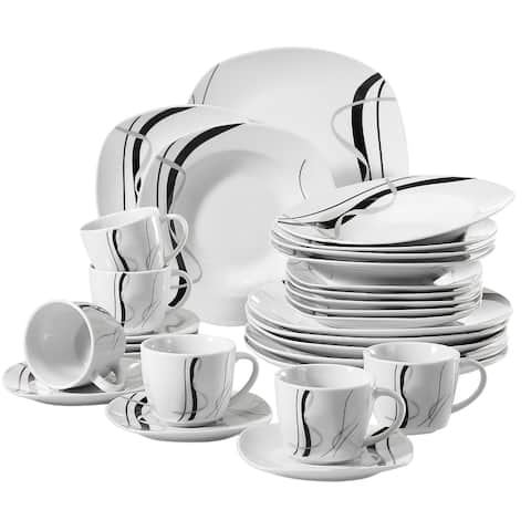 VEWEET 'Fiona', 30-Piece Ceramic Dinner Set, Service for 6