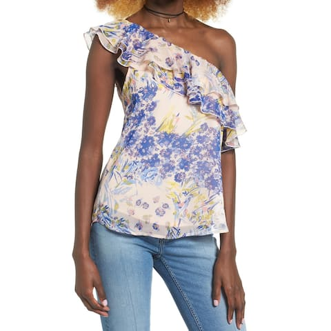 Leith Women Small Floral One-Shoulder Ruffle-Trim Blouse