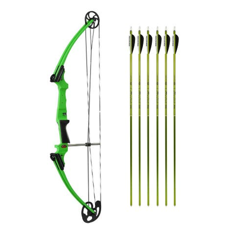 Genesis Original Youth Bow for Beginner (Green, RH) and Arrows Kit (6) - 35.5""