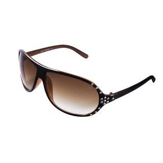 Ladies Rhinestones Detail Black Brown Full Rim Single Bridge Sunglasses Eyewear