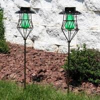 Sunnydaze Diamond Design Caged Solar Light with LEDs - Set of 2 - Green