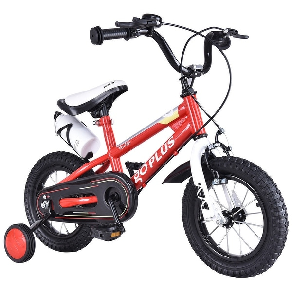Goplus 20'' Freestyle Kids Bike Bicycle Children Boys & Girls w Training Wheels Red