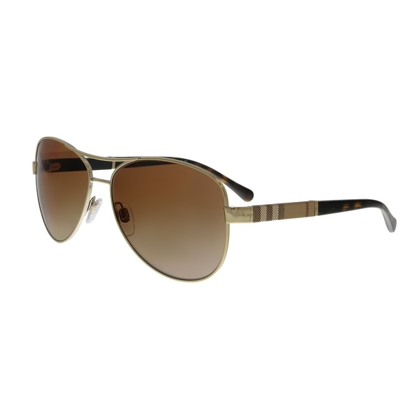 cd5e6017684 Shop Burberry BE3080 114513 Light Gold Aviator Sunglasses - 59-14 ...