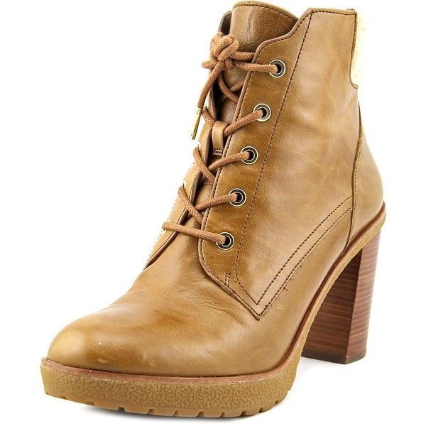 Michael Michael Kors Kim Lace Up Bootie Women Round Toe Leather Brown Ankle Boot