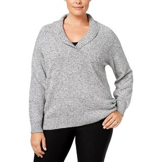 Karen Scott Womens Plus Sweater Shawl Long Sleeves