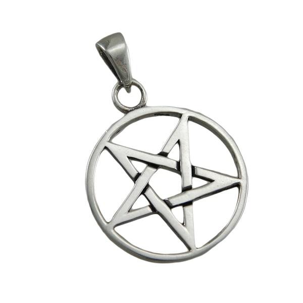 Sterling silver inverted pentagram pendant pentacle free shipping sterling silver inverted pentagram pendant pentacle aloadofball Choice Image