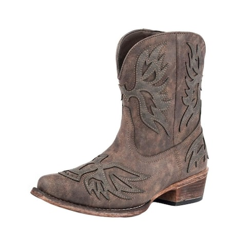 Roper Western Boots Womens Amelia Overlay Brown