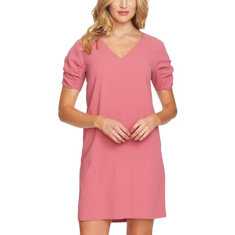 CeCe Pink Womens Size 8 V-Neck Ruched Puff Sleeve Shift Dress
