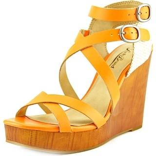 Lucky Brand Lahoya Women Open Toe Leather Orange Wedge Heel
