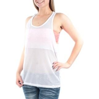 Womens White Sleeveless Scoop Neck Top Size M