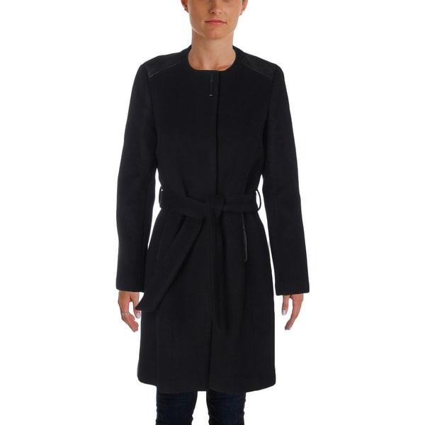 Elie Tahari Womens Coat Wool Leather Trim
