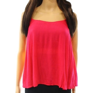 Elodie NEW Pink Solid Womens Size Medium M Ruffle Trim Crinkle Cami Top