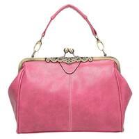 QZUnique Women's PU Leather British Style Message Bag Retro Tote Handbag Cross Body Shoulder-bag